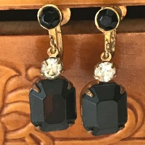 Vintage Onyx and White Sapphire Earrings